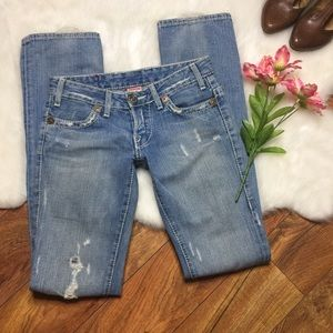 True Religion light wash factory distressed jeans